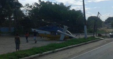Helicóptero da PRF sofre acidente em Eunápolis